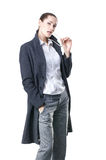A young brunette businesswoman in formal clothes Stock Photo