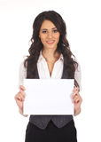 A young brunette businesswoman holding paper Stock Images