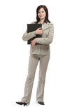 Young brunette businesswoman with a map Stock Photography