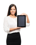 A young brunette businesswoman with a tablet computer Stock Photo