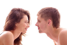 A young brunette Caucasian loving couple Royalty Free Stock Photo