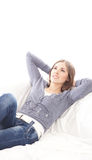 A young brunette Caucasian woman relaxing Stock Photography