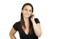 Young brunette with  cell phone Royalty Free Stock Photo