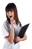 The young brunette the charming staff nurse Royalty Free Stock Image
