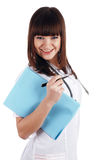 The young brunette the charming staff nurse Stock Image