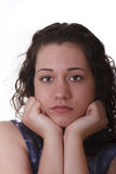 Young Brunette Chin on Hands Sad Stock Photo