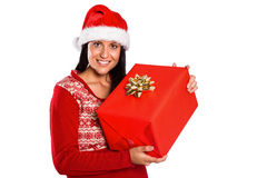 Young brunette with christmas present Royalty Free Stock Image