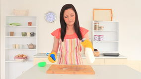 Young brunette cleaning the kitchen Stock Photo