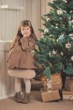 Young brunette dolly lady girl stylish dressed cozy warm winter gray jacket with fur posing sitting standing in studio close to Ch. Ristmas New Year tree and Royalty Free Stock Photo