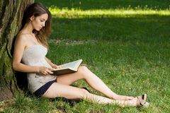 Young brunette enjoying book outdoors. Royalty Free Stock Photo