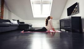 Young brunette exercising on floor at home Royalty Free Stock Images
