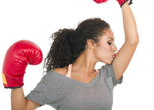 Young brunette female boxer Stock Images