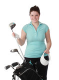 Young brunette female golfer Royalty Free Stock Photo
