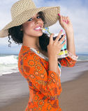 Young Brunette Female On The Beach Royalty Free Stock Photo