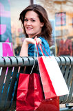 Young Brunette Female Shopper Resting Royalty Free Stock Photo