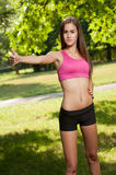 Young brunette fitness girl. Stock Photo