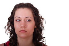 Young Brunette Full Face Eyes to Left Royalty Free Stock Photos
