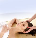 A young brunette getting spa treatment Royalty Free Stock Photography