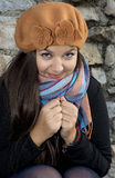 Young brunette girl in autumn outfit Stock Image