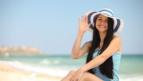 Young brunette girl stock footage