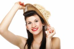 Young brunette girl in hat retro styling Stock Photos