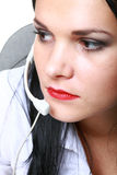 Young brunette girl with headphones Stock Photo