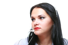Young brunette girl with headphones Stock Image