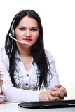 Young brunette girl with headphones Royalty Free Stock Photos
