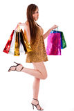 Young brunette girl with her shopping bags Royalty Free Stock Images
