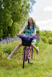 A young brunette girl lupine meadow. The girl with a bouquet of lupine and bike sunny summer day lupine field Stock Photos