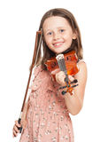Young  brunette girl playing violin. Stock Images