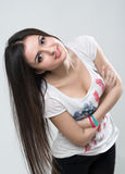 Young brunette girl smiling Royalty Free Stock Image