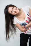 Young brunette girl smiling Stock Images