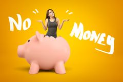 Young Brunette Girl Wearing Casual Jeans And T-shirt Appearing Out Of Broken Piggy Bank With NO MONEY Sign On Yellow Stock Photos