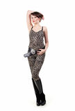 Young brunette girl wearing leopard clothes Royalty Free Stock Photography