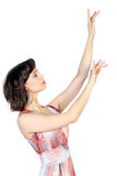 Young  brunette with hands raised up Stock Photography