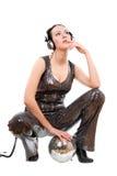 Young brunette in headphones Stock Photo