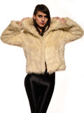 Young brunette lady in white fur coat Stock Photography