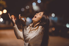 Young brunette lady yelling in despair standing on Royalty Free Stock Image