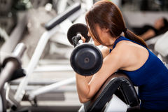 Young brunette lifting a barbell Stock Images