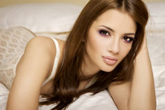 Young brunette in lingerie Royalty Free Stock Photography