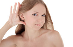 Young brunette listening gossip news Royalty Free Stock Photo