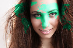 Young brunette with map Stock Photos