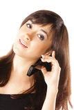 Young brunette with mobile Stock Photos