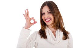 Young brunette model showing perfect gesture. On isolated white background Stock Images