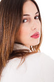 Young brunette model side pose Royalty Free Stock Images
