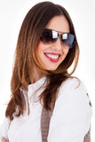 Young brunette model smiling with sunglasses Royalty Free Stock Images