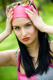Young brunette outdoor portrait Stock Photography