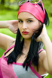 Young brunette outdoor portrait Stock Images