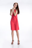 Young Brunette In Red Dress Stock Photos